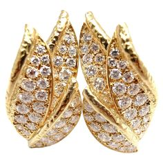 1stdibs - PIAGET+2CT+Diamond+Leaf+Yellow+Gold+Earrings explore items from 1,700+ global dealers at 1stdibs.com