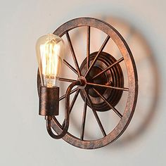 Buy Retro Loft Wall Lamp Rustic Iron Wheel Shape Barn Wall Sconce with Lowest Price and Top Service!