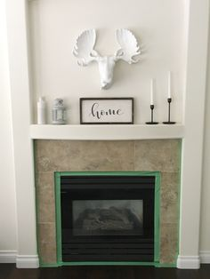 Stenciled Tile DIY Fireplace Makeover – Life Is Better At Home – Fireplace tile ideas Paint Fireplace Tile, Fireplace Art, Candles In Fireplace, Brick Fireplace Makeover, Rustic Fireplaces, Fireplace Remodel, Fireplace Surrounds, Fireplace Ideas, German Schmear