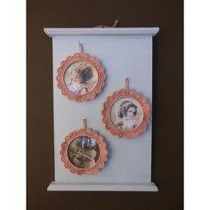 Wandbordje met 3 nostalgische fotolijstjes, oud-roze