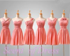 Coral bridesmaid dress  short party dress / junior by ScentofDress, $85.00