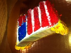 Military Cake. Every slice of this cake produces an individual American Flag.  Be patriotic, Support the Troops, Honor a Hero!