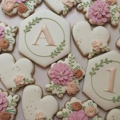 Cookies For Kids, Fancy Cookies, Iced Cookies, Sugar Cookies, Sugar Cookie Royal Icing, Cookie Icing, Wedding Sweets, Wedding Cookies, Cookies