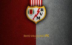 Download wallpapers FC Rayo Vallecano, 4K, Spanish Football Club, leather texture, logo, LaLiga2, Segunda Division, Madrid, Spain, Second Division, football