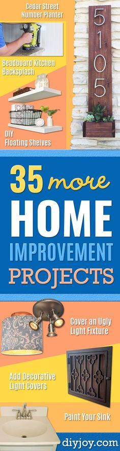 DIY Home Improvement Projects On A Budget - Cool Home Improvement Hacks, Easy and Cheap Do It Yourself Tutorials for Updating and Renovating Your House - Home Decor Tips and Tricks, Remodeling and Decorating Hacks - DIY Projects and Crafts by DIY JOY Diy Projects On A Budget, Diy Projects Cans, Diy On A Budget, Home Projects, Budget Plan, Tips And Tricks, Best Hacks, Hacks Diy, Floating Shelves Diy