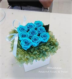 Preserved flower  cube arrangement for HANAHASU Basic Course