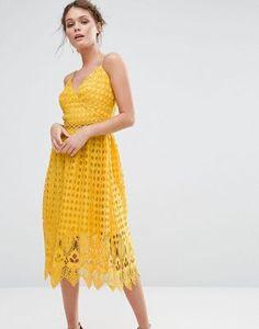 4b71799a72 True Decadence Lace Midi Dress with Cutwork Hem at asos.com