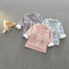 Девочек плюс бархат дна рубашки осенью и зимой детская одежда ребенка толстовка 0-1-2-3-4 лет женский детские футболки сгущает топы
