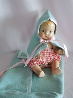 Little Effanbee Baby Tinyette Doll - Bunting is Original - 1930's-1940's