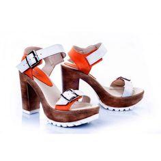 Dámske kožené sandále bielo-oranžovej farby - fashionday.eu 94bfeddf84f