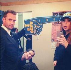 Gabriel Macht and Sarah G. Rafferty. 2014 Suits College Tour, UCLA. Aaron Korsh...photo bomb.