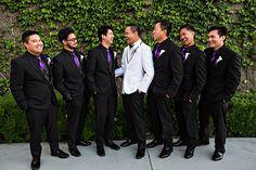 how to make purple wedding punch All Black Tuxedo, White Tuxedo Wedding, Purple Tuxedo, Purple Suits, Red Black, Black Silver, Purple Wedding Punch, Groomsmen Attire Purple, Black Bridal Parties