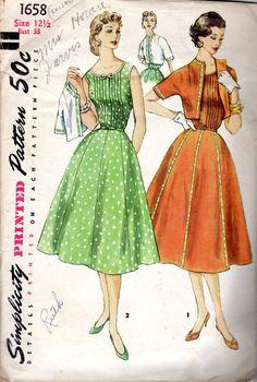 1950s Misses' Tucked Dress & Jacket Pattern  Size by JeaniesShop, $16.00
