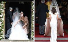 The Duchess of Cambridge was pictured helping her sister Pippa Middleton with her train, as was previously done for her at her wedding in 2011.