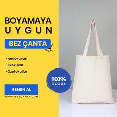 Tüm etkinliklerde kullanabileceğiniz boyamaya uygun 100% doğal bez çantalar istecanta.com'da! #bezcanta #beztorba #boyama #anaokulu #toptan #totebag