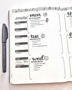 BuJo co tydzień - bullet-journal-ideas - Bullet Journal Weekly Layout, Bullet Journal 2020, Bullet Journal Hacks, Bullet Journal Aesthetic, Bullet Journal Spread, Bullet Journal Ideas Pages, Journal Pages, Bullet Journals, Bullet Journal Events