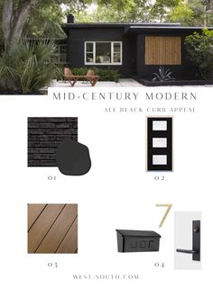 Mid-Century Modern Style Curb Appeal Ideas from West-South, All Black Mid-Century Exterior Design Ideas Modern Bungalow Exterior, Black House Exterior, Ranch Exterior, Exterior Remodel, Exterior House Colors, Exterior Design, Midcentury Exterior Products, Exterior Trim, Exterior Paint