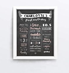 First Birthday Chalkboard Sign Digital Poster by LittleOakInk First Birthday Chalkboard, Chalkboard Poster, Kindergarten First Day, All Names, First Day Of School, First Birthdays, Special Occasion, Chalk Board, How To Memorize Things