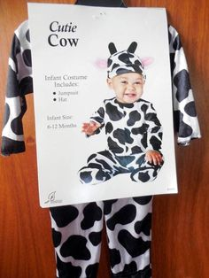 cutie cow costume infant size 6 12 months unisex halloween outfit - Baby Cow Costume Halloween