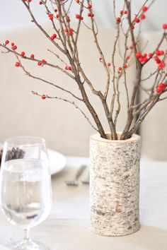 pretty birch and berry holiday table setting