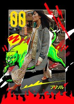 WAD x Brisseaux on Inspirationde Fashion Graphic Design, Graphic Design Posters, Graphic Design Inspiration, Typography Design, Graphic Art, Collage Design, Collage Art, Posters Conception Graphique, Plakat Design