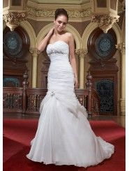 Organza Strapless Sweetheart Ruffled Bodice A-line Wedding Dress