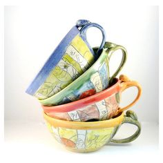 Ceramic Soup Mugs Set of Four Unique Coffee Mugs Artistic Bowls... (£135) ❤ liked on Polyvore featuring home, kitchen & dining, bowls, dining & serving, home & living, pink, ceramic soup bowls, ceramic soup bowl, ice cream cart and ceramic stoneware
