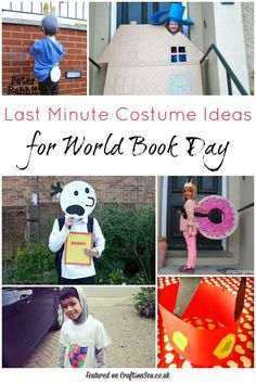 Easy last minute costume ideas for World Book Day. Create dressing up outfits with cardboard, no sew tutorials and outfits from clothes you already own.