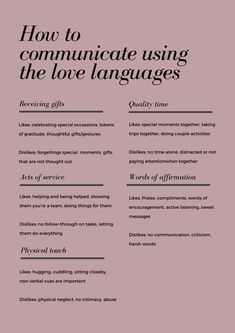 Knowing the 5 love languages can help you improve your relationship! Making the effort to understand each other and communicate in the other's love language will make it easier to maintain a good and lasting relationship. Relationship Topics, Relationship Therapy, Healthy Relationship Tips, Interpersonal Relationship, Healthy Marriage, Relationships Love, Healthy Relationships, Relationship Advice Quotes, Love Language Physical Touch