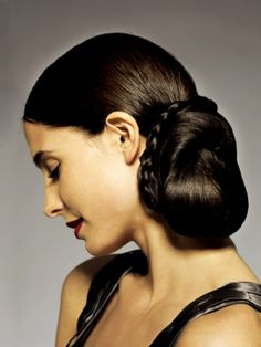 festive, elegant hairstyle of a women's magazine