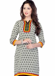 Printed Off-White Cotton Kurti