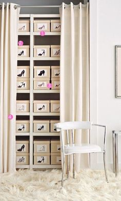 shoe closet - photographs of shoe box contents to ID. Drape and rod within a room might be an option, if not sufficient closet space. Closet Bedroom, Closet Space, Shoe Closet, Shoe Wardrobe, Master Bedroom, Wardrobe Ideas, Master Bath, Bedroom Decor, Shoe Organizer