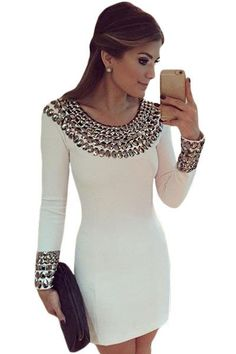 Sexy Round Neck Long Sleeve Bodycon Studded Dress MB22591