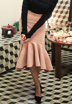 Graceful Solid Color Flounced Asymmetrical Fishtail Skirt For Women$17.90