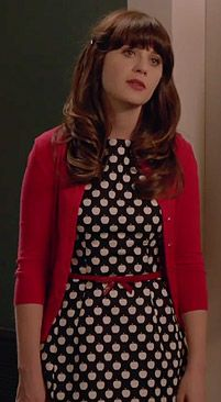 Zooey Deschanel's Apple print dress on New Girl. Outfit Details: http://wwzdw.com/z/4525/ #WWZDW