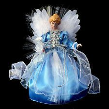 FIBER OPTIC CHRISTMAS ANGEL TREE TOPPER / BLUE & SILVER GOWN / LED TECHNOLOGY