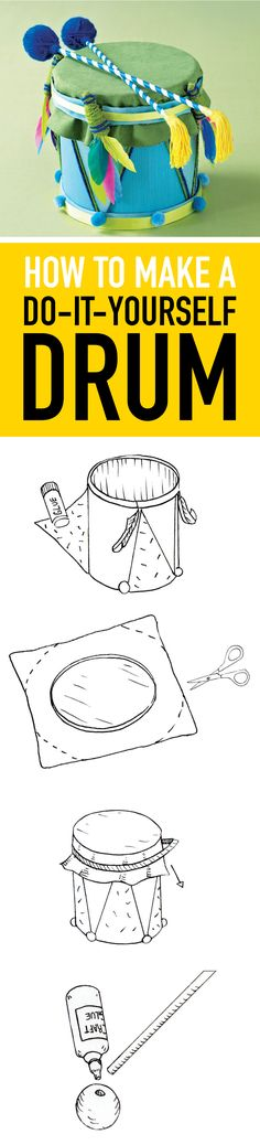 Help your budding musician hit the right notes with this easy-to-make DIY drum. Preschool Music, Music Activities, Teaching Music, Toddler Activities, School Projects, Projects For Kids, Diy For Kids, Crafts For Kids, Diy Drums