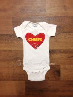 Kansas City Chiefs Girls Bodysuit by BebeSucreOnline on Etsy, $15.00