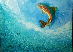 Trout Jumping alcohol ink on canvas by Alicia Beebe