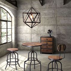 Give your home bar an industrial chic vibe with the Zuo Modern Twin Peaks Adjustable Height Bar Table - Distressed Natural . Vintage Industrial Furniture, Industrial House, Metal Furniture, Furniture Design, Industrial Style, Industrial Dining, Industrial Lighting, Industrial Kitchens, Warm Industrial