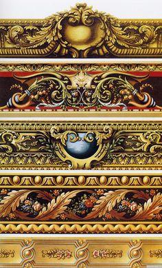 examples of gilded dado/borders (via arteverday) Carving Designs, Ornaments Design, Flower Ornaments, Wow Art, Border Design, Grafik Design, Architectural Elements, Wood Carving, Oeuvre D'art