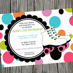 Awesome Printable Roller Skating Party Invitation.  by cohenlane, $8.00