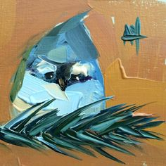 Tufted Titmouse no. 41 Original Bird Oil Painting by Angela Moulton 4 x 4 inch…