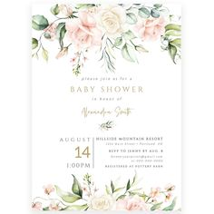 Floral Baby Girl Shower Invitation | Forever Your Prints