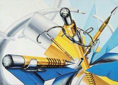 노란 샤프,종이컵,파란종이(공간감 표현) -미대입시