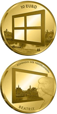 10 euro: Dutch Painting.Country:Netherlands Mintage year:2011 Face value:10 euro Diameter:22.50 mm Weight:6.72 g Alloy:Gold Quality:Proof Mintage:3,500 pc proof