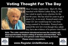 People are stock-raving mad. .Women are being targeted by those introducing these voting laws. Women will be disproportionately effected, and thus lessen the volume of our voices in November. Please make sure that you can vote, next help as many others get registered and finally, take as many people with you to the polls in November. To succeed in this we must first create our plan to get out the vote!