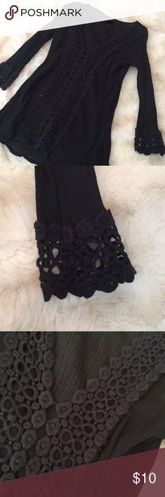 Venus Black Swim Cover Up Tunic Beautiful crochet detail. Worn once VENUS Swim Coverups