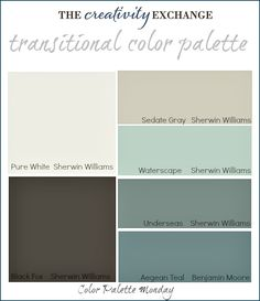Transitional Paint Color Palette with images of rooms painted in these colors. {Color Palette Monday #3} The Creativity Exchange