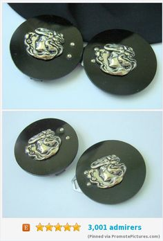 Victorian Mourning French Jet Sterling Double Cameo Dress Sash Buckle / Destash / Vermeil Repousse / Antique Jewelry / Jewellery